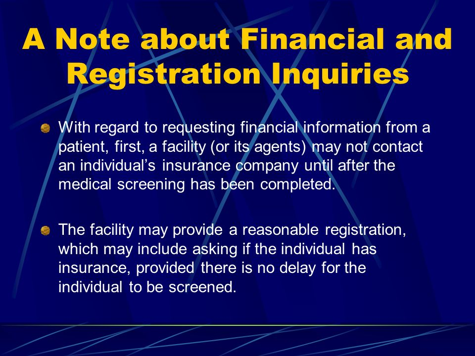A Note about Financial and Registration Inquiries