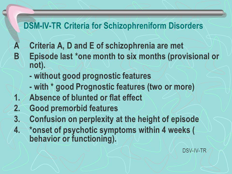 DSM-IV-TR Criteria for Schizophreniform Disorders