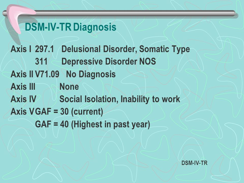 DSM-IV-TR Diagnosis Axis I 297.1 Delusional Disorder, Somatic Type