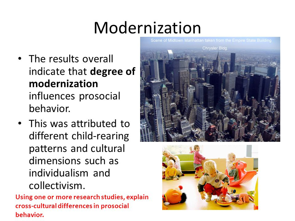 Modernization The results overall indicate that degree of modernization influences prosocial behavior.