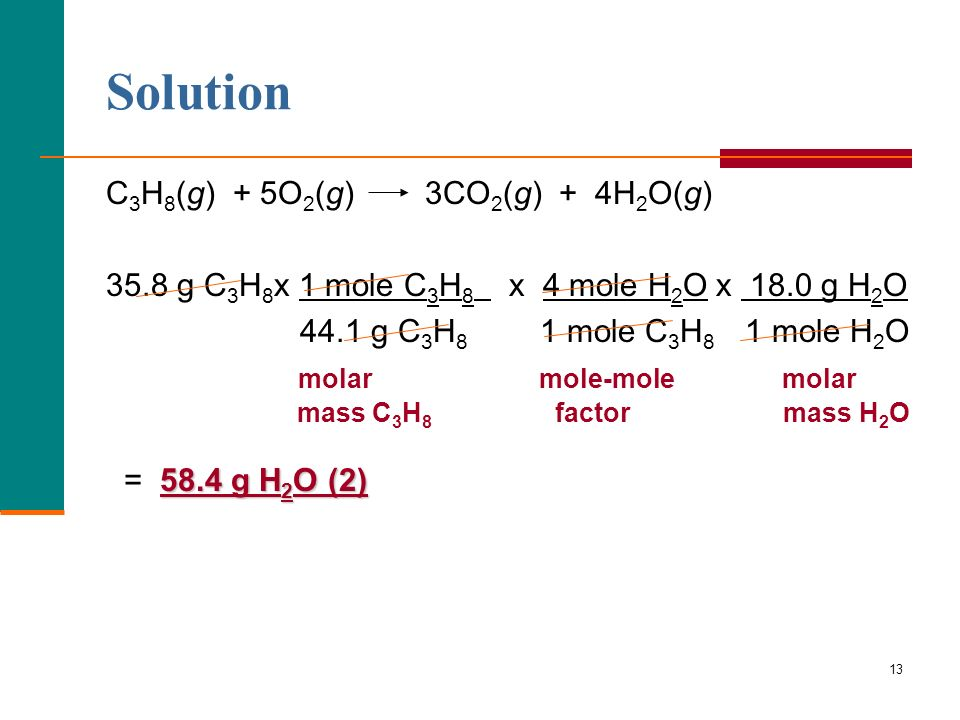 Solution C3H8(g) + 5O2(g) 3CO2(g) + 4H2O(g)