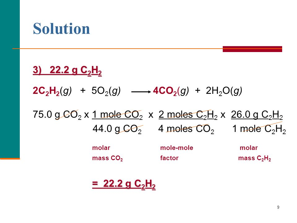 Solution 3) 22.2 g C2H2 2C2H2(g) + 5O2(g) 4CO2(g) + 2H2O(g)