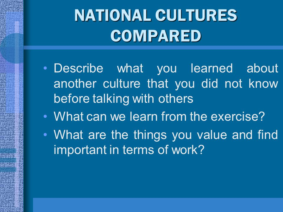 NATIONAL CULTURES COMPARED