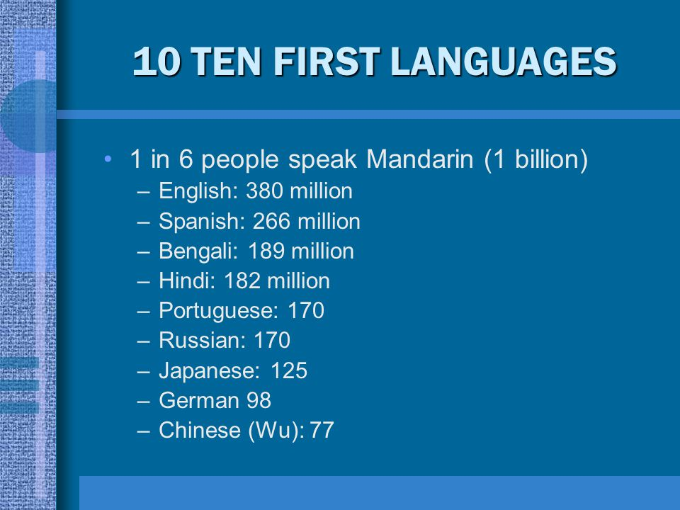 10 TEN FIRST LANGUAGES 1 in 6 people speak Mandarin (1 billion)