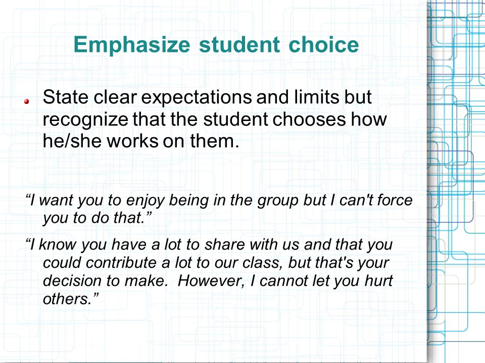 Emphasize student choice