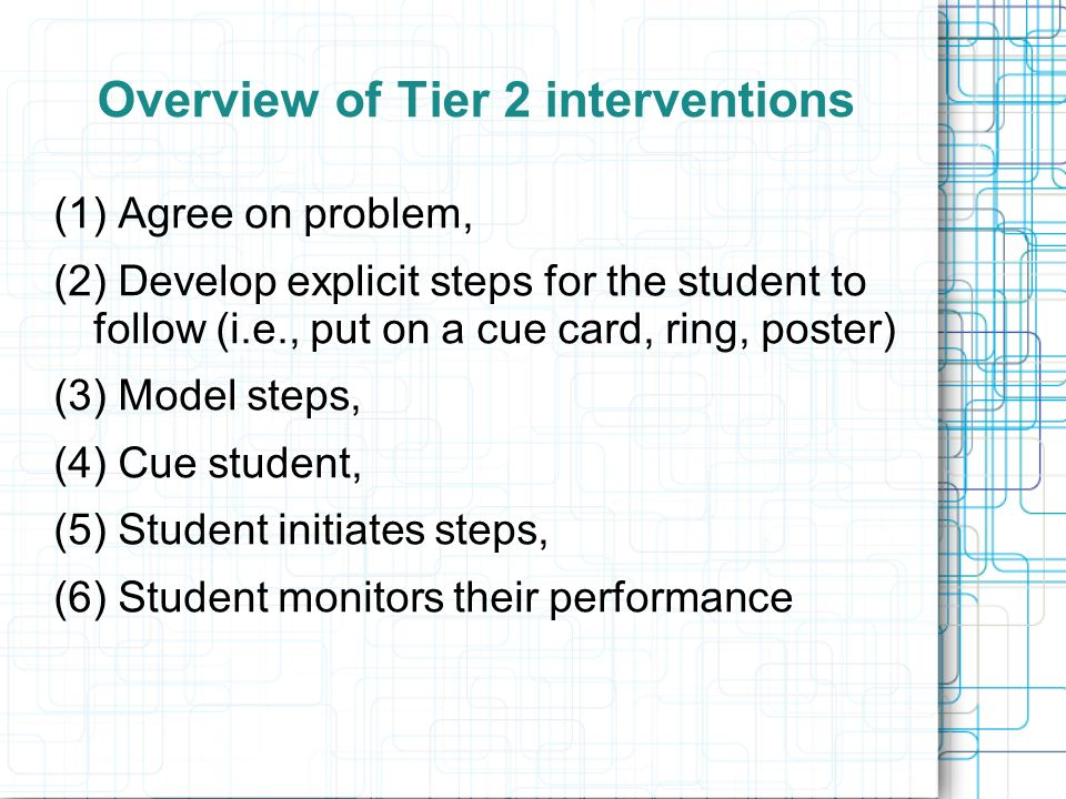 Overview of Tier 2 interventions