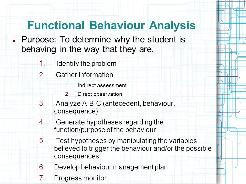 Functional Behaviour Analysis