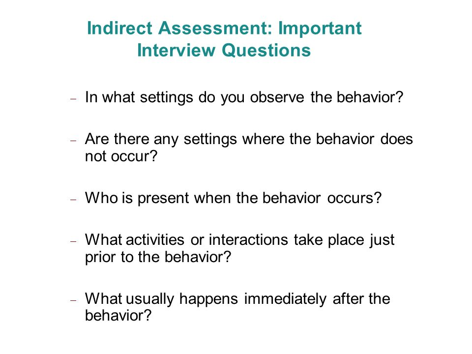 Indirect Assessment: Important Interview Questions