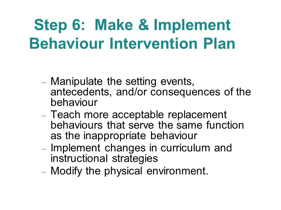 Step 6: Make & Implement Behaviour Intervention Plan