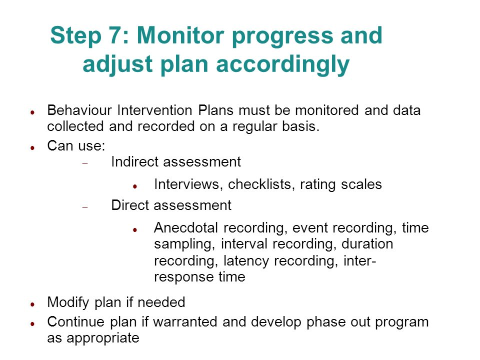 Step 7: Monitor progress and adjust plan accordingly