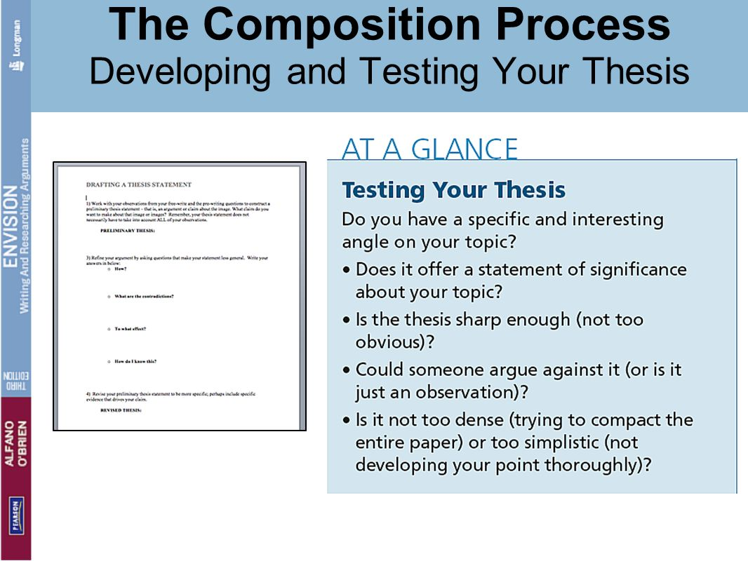 developing thesis statement checkpoint 220 You'll study information on ways in which to organize an essay, develop a thesis statement and support claims in addition, you should be able to: explain how to write to a specific task, purpose.