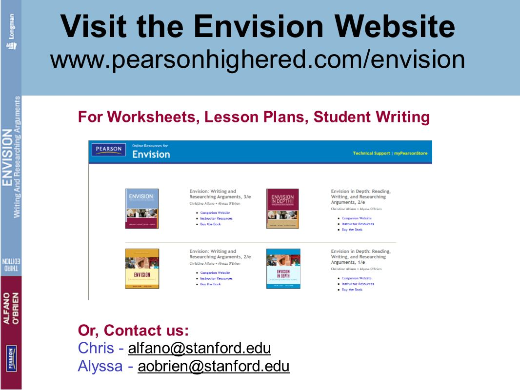 Visit the Envision Website www.pearsonhighered.com/envision