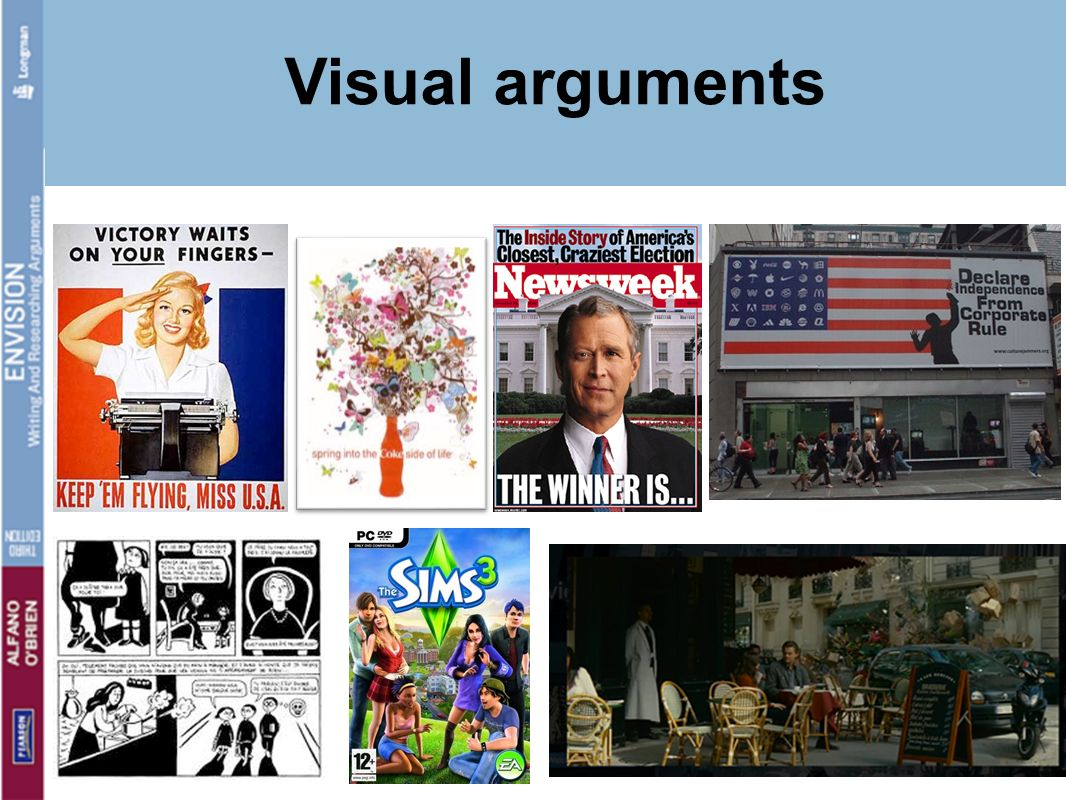 Visual arguments Something here on how we define a thesis and explain that to the students. start with p 26 – what NOT to do,