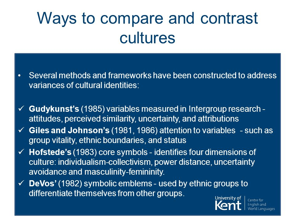 Ways to compare and contrast cultures