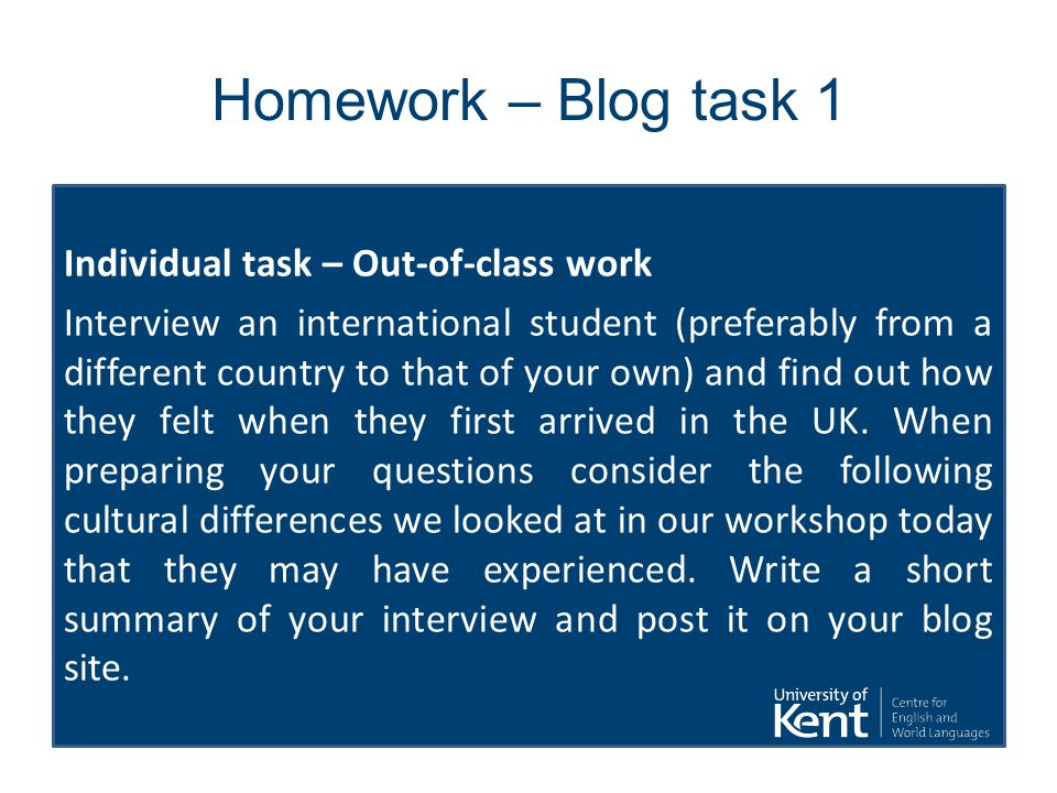 Homework – Blog task 1 Individual task – Out-of-class work