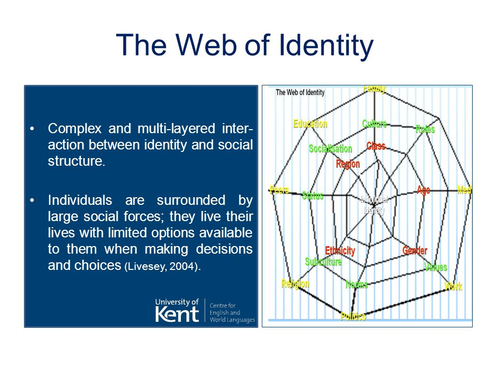 The Web of Iden­tity Complex and multi-layered inter­ac­tion between iden­tity and social struc­ture.