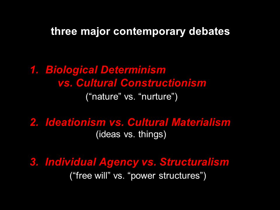 three major contemporary debates