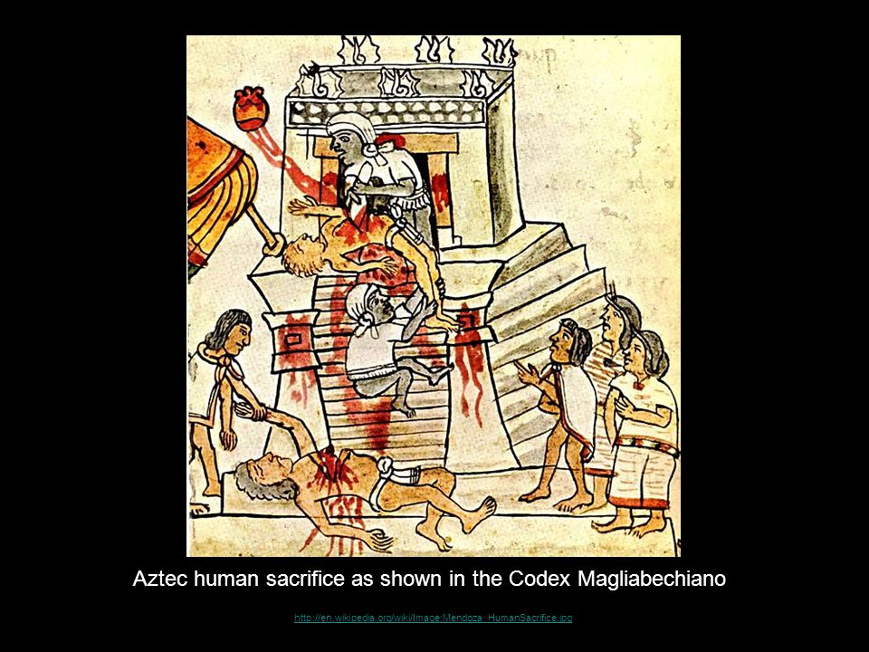 Aztec human sacrifice as shown in the Codex Magliabechiano