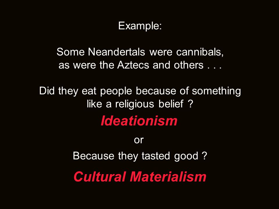 Ideationism Cultural Materialism Example: