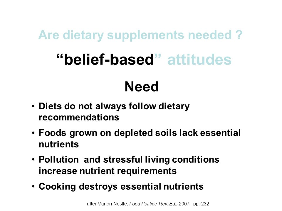 Are dietary supplements needed belief-based attitudes