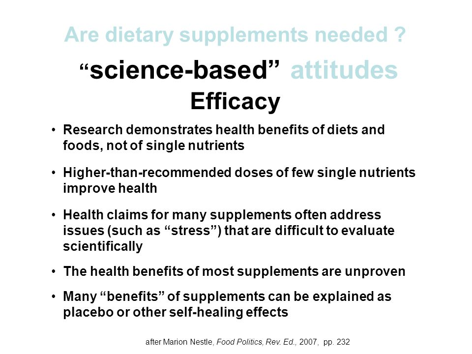 Are dietary supplements needed science-based attitudes