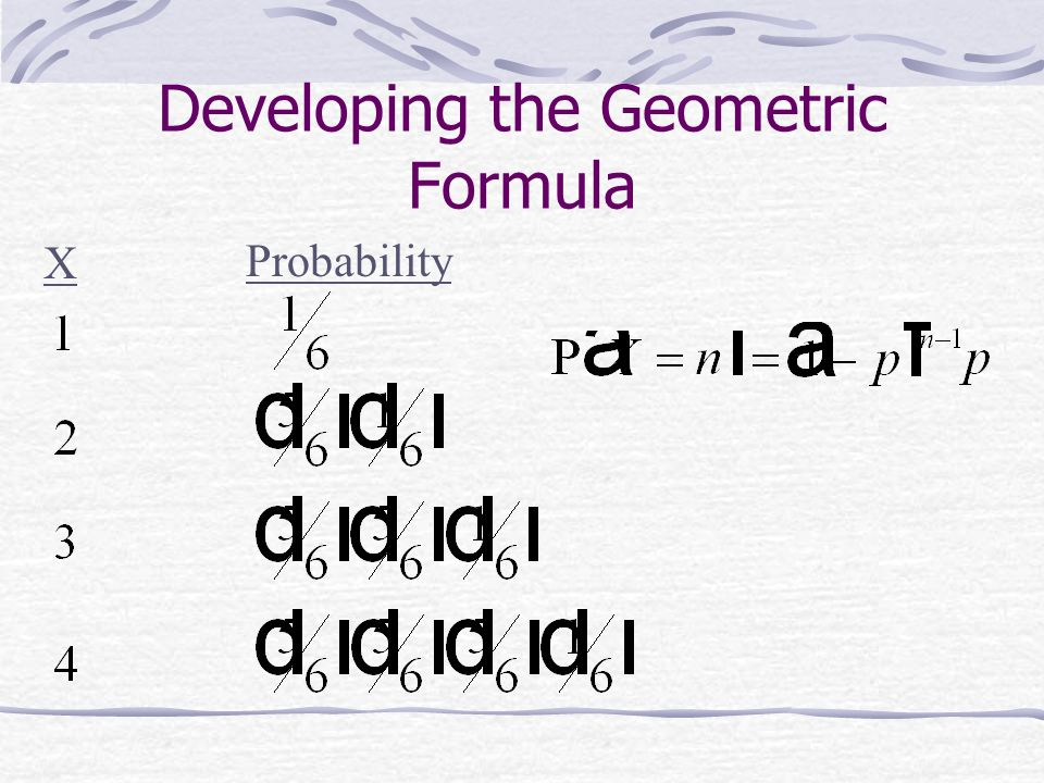 Developing the Geometric Formula