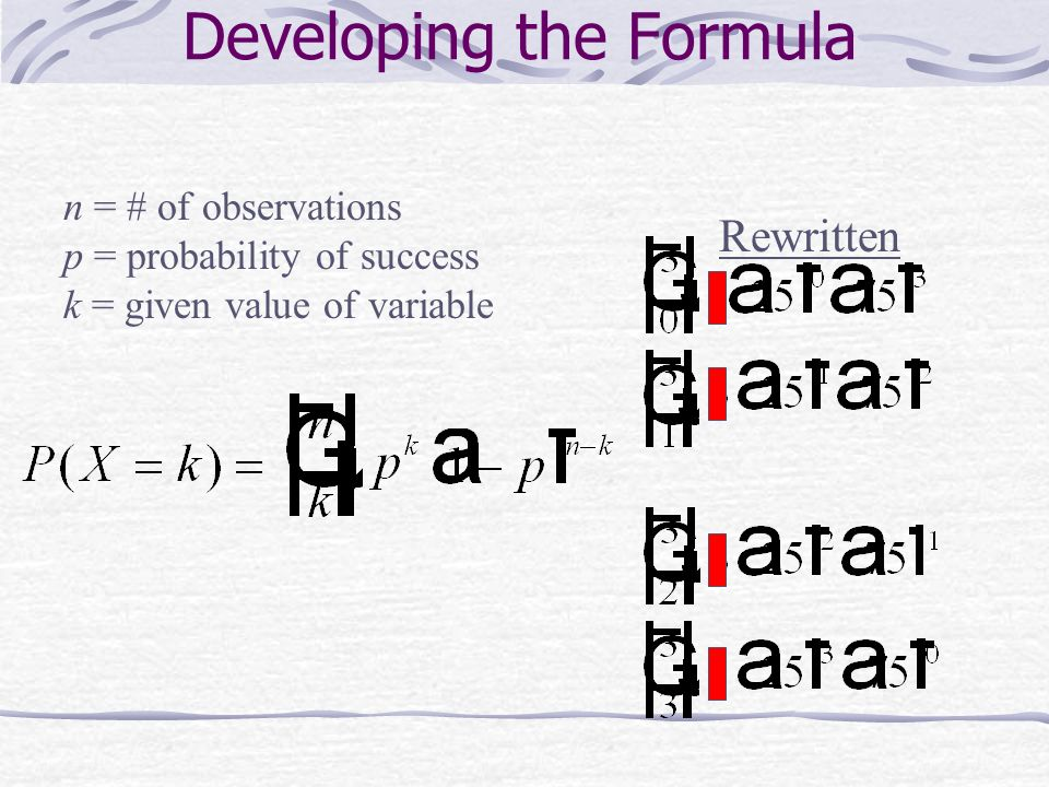 Developing the Formula