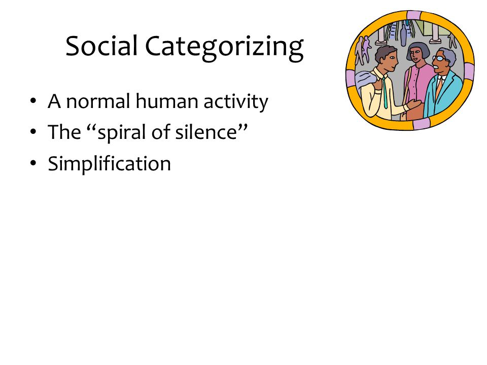 Social Categorizing A normal human activity The spiral of silence