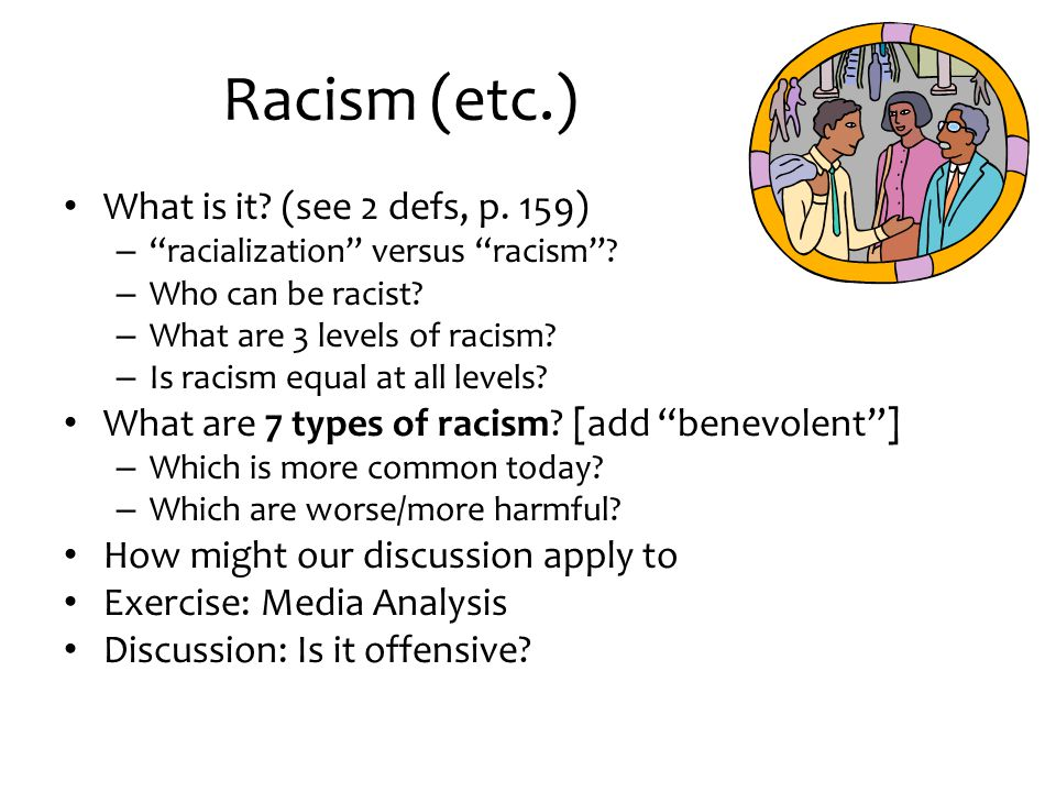 Racism (etc.) What is it (see 2 defs, p. 159)