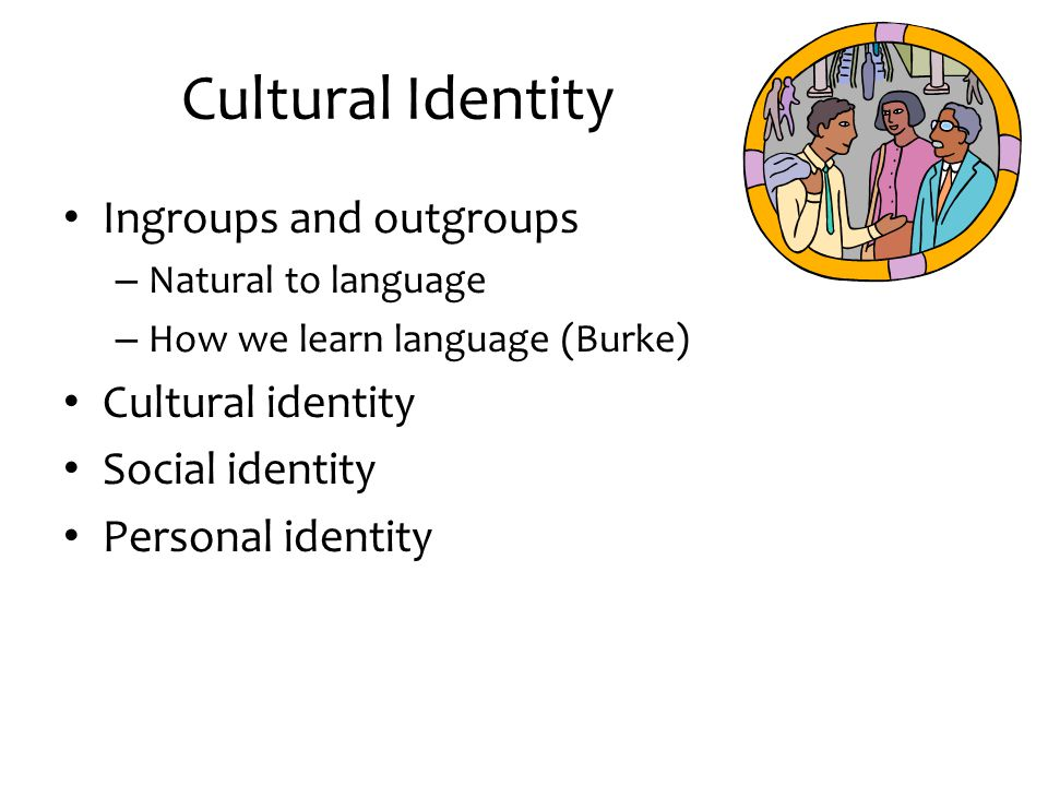 Cultural Identity Ingroups and outgroups Cultural identity