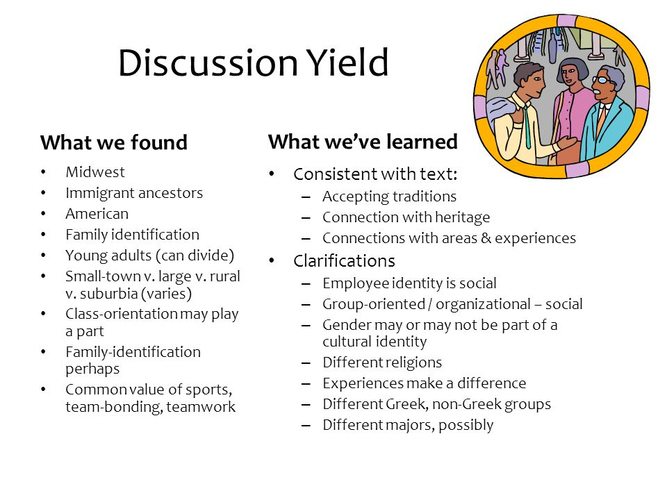 Discussion Yield What we found What we've learned