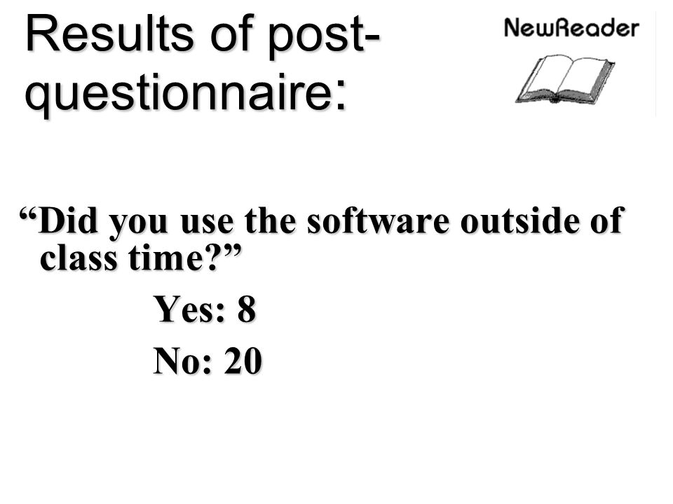 Results of post-questionnaire: