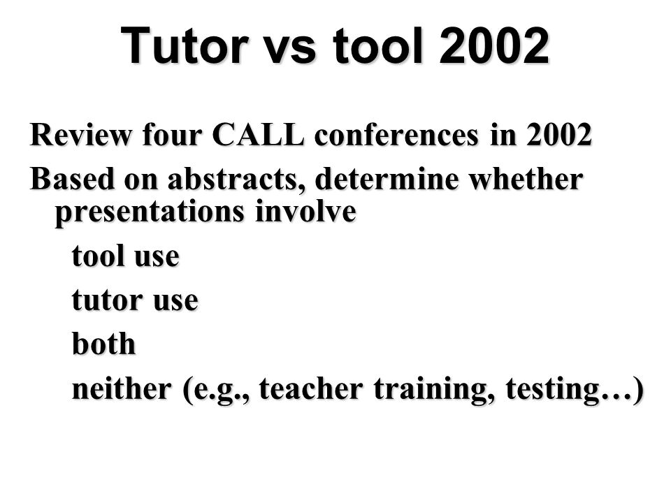 Tutor vs tool 2002 Review four CALL conferences in 2002