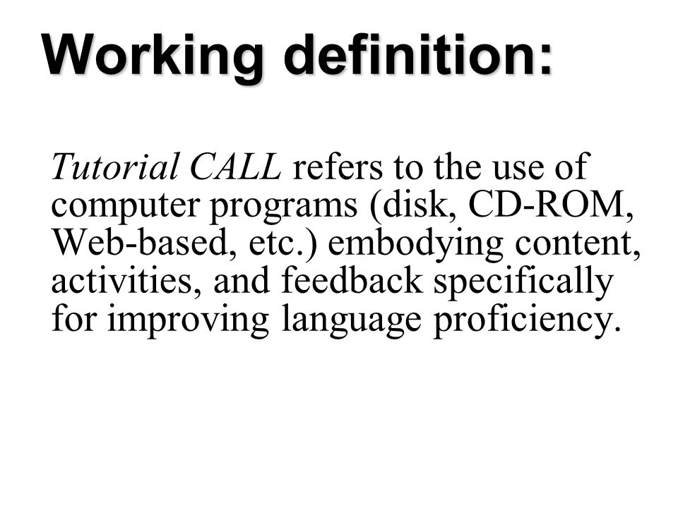 Working definition: