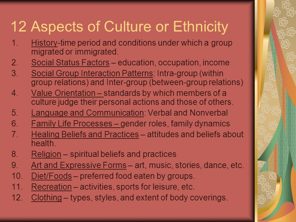 12 Aspects of Culture or Ethnicity