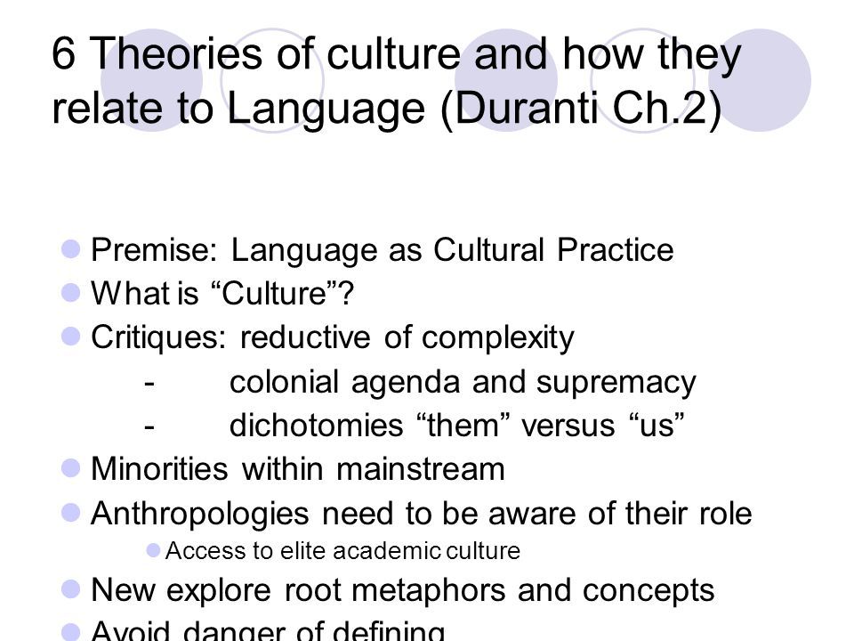 6 Theories of culture and how they relate to Language (Duranti Ch.2)