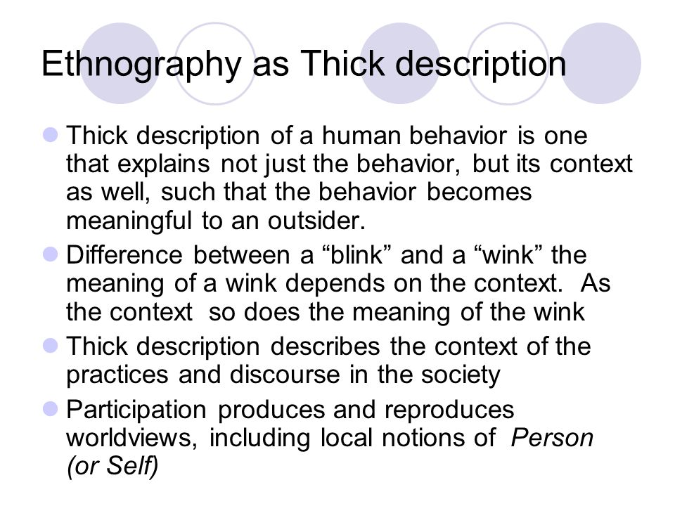 Ethnography as Thick description