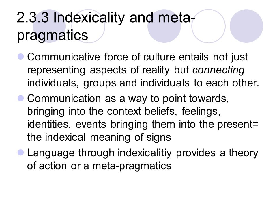 2.3.3 Indexicality and meta-pragmatics
