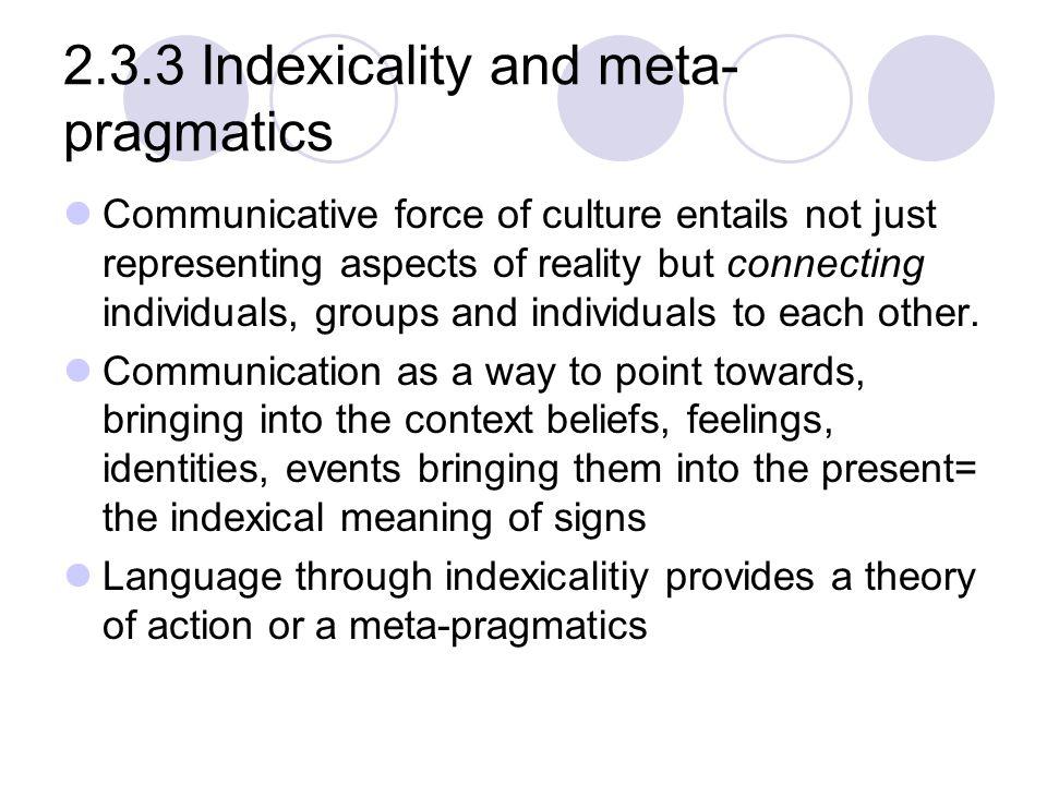 2.3.3 Indexicality and meta-pragmatics