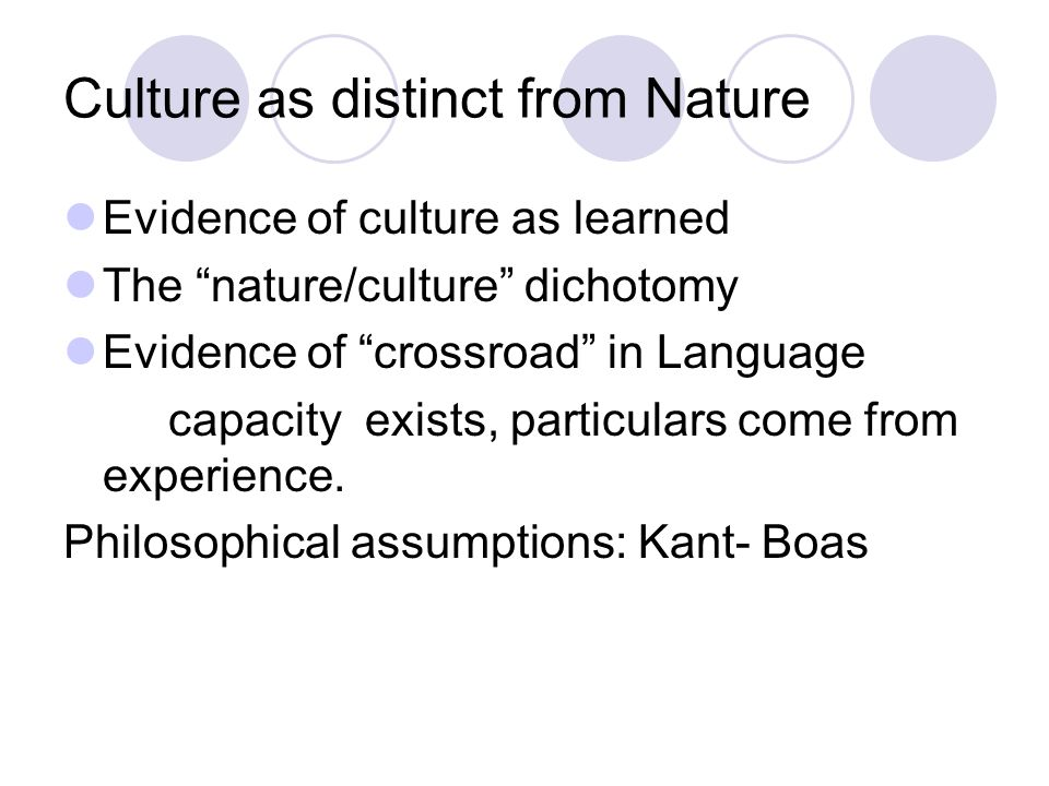 Culture as distinct from Nature