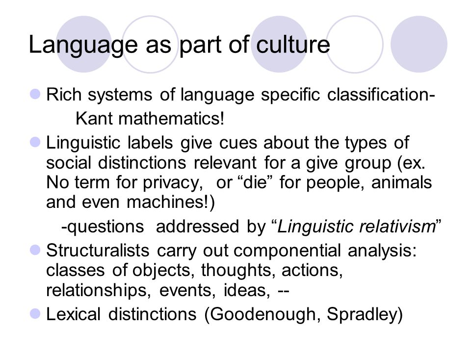 Language as part of culture