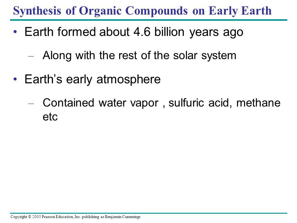 Synthesis of Organic Compounds on Early Earth