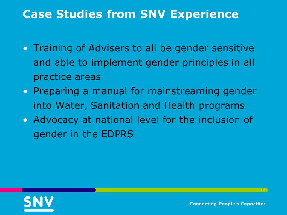 Case Studies from SNV Experience