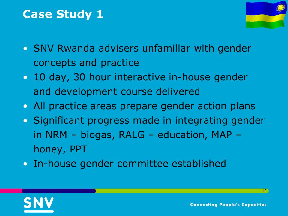 Case Study 1 SNV Rwanda advisers unfamiliar with gender concepts and practice.