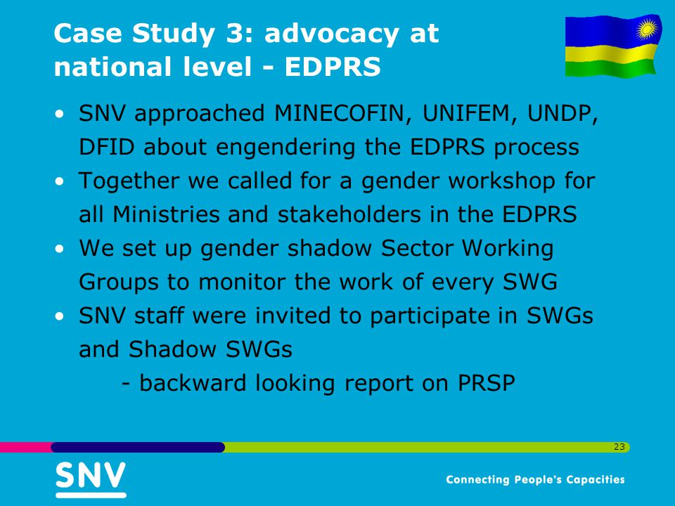 Case Study 3: advocacy at national level - EDPRS