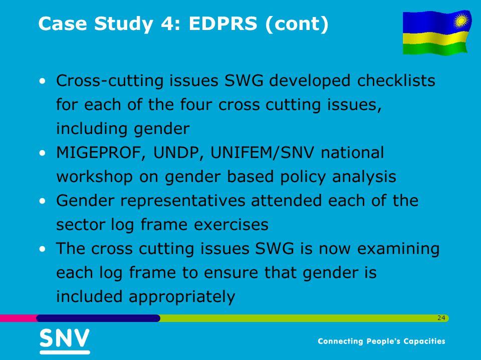 Case Study 4: EDPRS (cont)