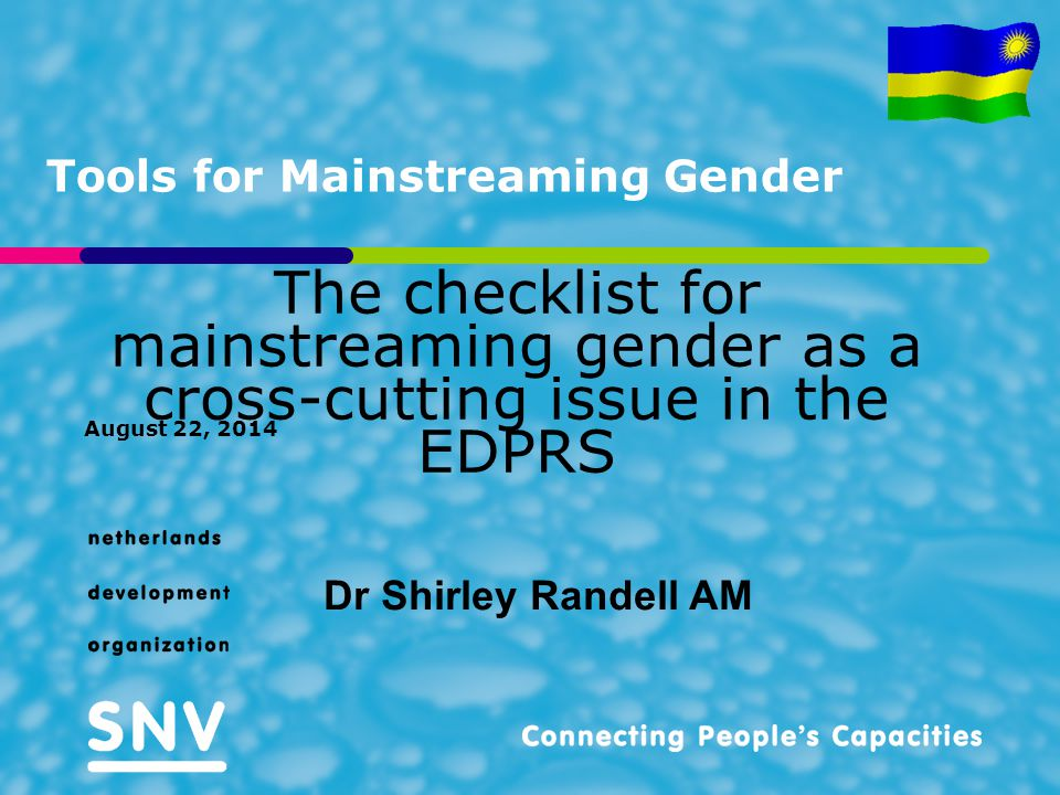 Tools for Mainstreaming Gender