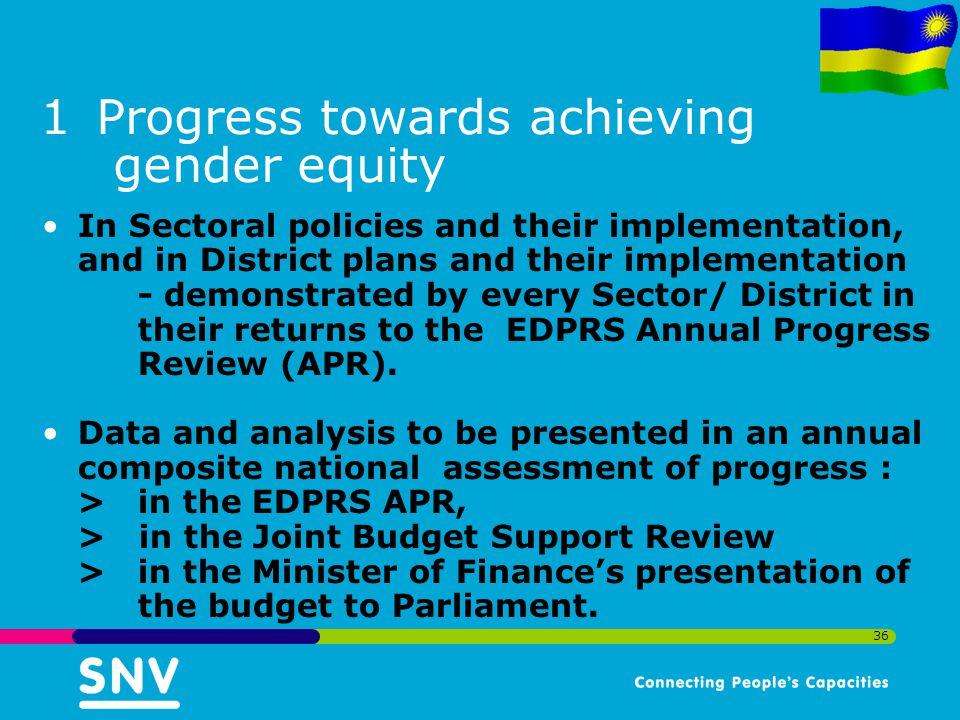 Progress towards achieving gender equity