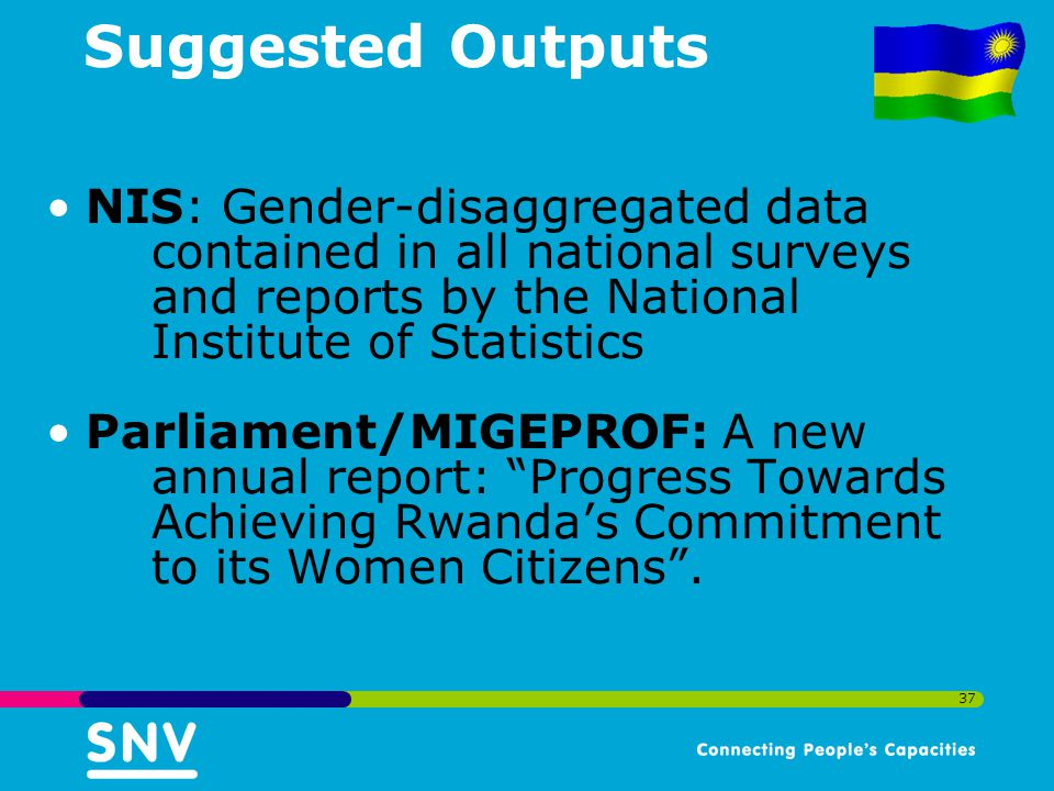 Suggested Outputs NIS: Gender-disaggregated data contained in all national surveys and reports by the National Institute of Statistics.