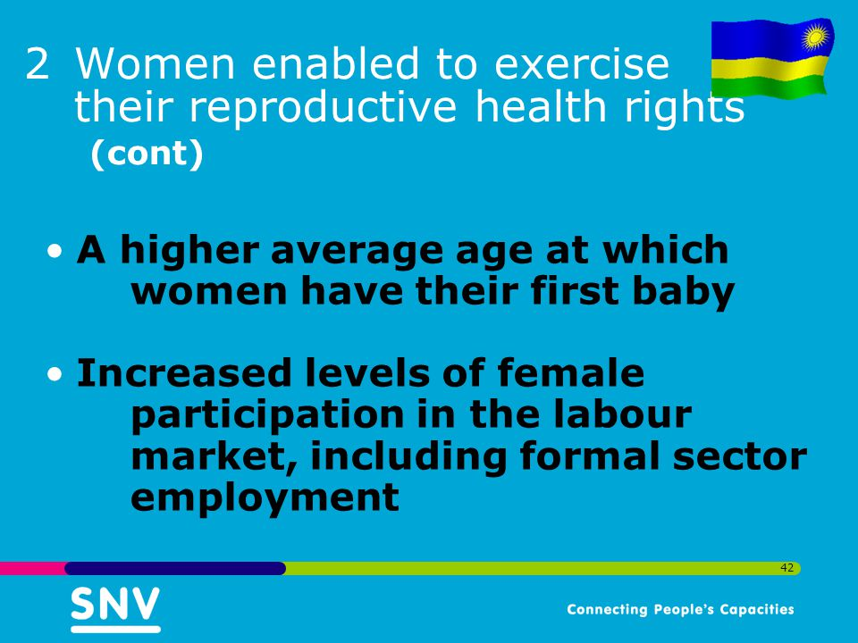 Women enabled to exercise their reproductive health rights (cont)